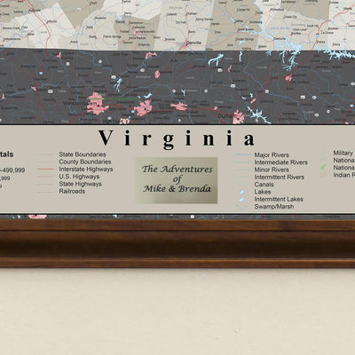 Earth Toned Virginia Travel Map with Pins Plaque Location