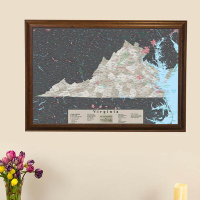 Earth Toned Virginia Travel Map with Pins main picture