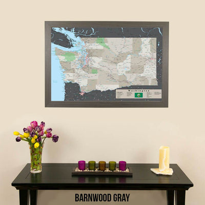 Earth Toned Washington State Push Pin Travel Map Barnwood Gray Frame