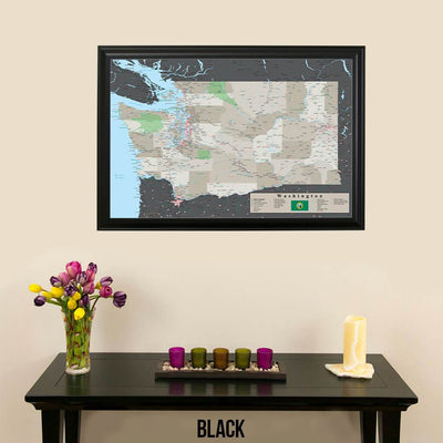 Earth Toned Washington State Push Pin Travel Map Black Frame