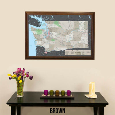 Earth Toned Washington State Push Pin Travel Map Brown Frame