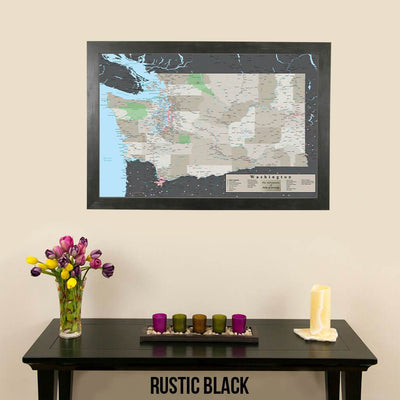 Earth Toned Washington State Push Pin Travel Map Rustic Black Frame