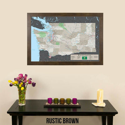 Earth Toned Washington State Push Pin Travel Map Rustic Brown Frame