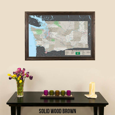 Earth Toned Washington State Push Pin Travel Map Solid Wood Brown Frame