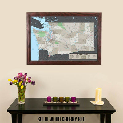 Earth Toned Washington State Push Pin Travel Map Solid Wood Cherry Red