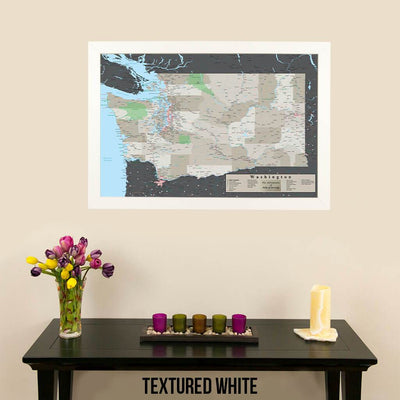 Earth Toned Washington State Push Pin Travel Map Textured White Frame