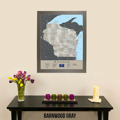 Earth Toned Wisconsin Travel Map with Pins Barnwood Gray Frame