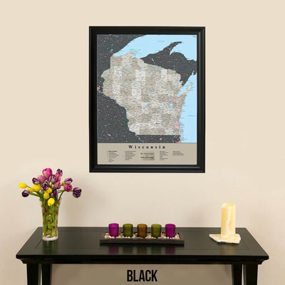 Earth Toned Wisconsin Travel Map with Pins Black Frame