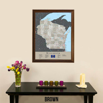 Earth Toned Wisconsin Travel Map with Pins Brown Frame