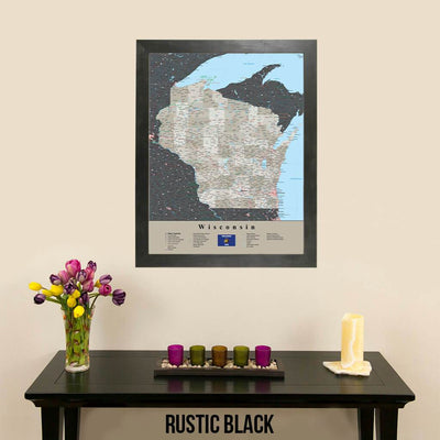 Earth Toned Wisconsin Travel Map with Pins Rustic Black Frame