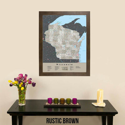 Earth Toned Wisconsin Travel Map with Pins Rustic Brown Frame