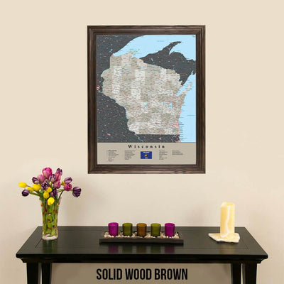 Earth Toned Wisconsin Travel Map with Pins Solid Wood Brown Frame