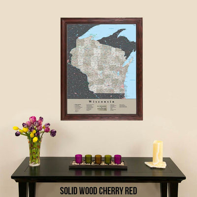 Earth Toned Wisconsin Travel Map with Pins Solid Wood Cherry Frame