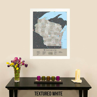 Earth Toned Wisconsin Travel Map with Pins Textured White Frame
