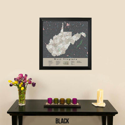 Earth Toned West Virginia State Travel Map Black Frame