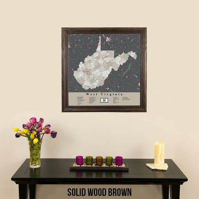 Earth Toned West Virginia State Travel Map Solid Wood Brown Frame