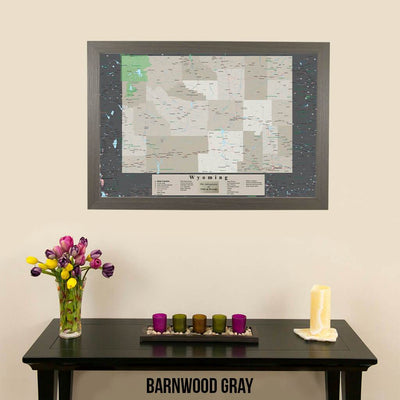 Framed Earth Toned Pin Map of Wyoming Barnwood Gray Frame
