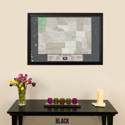 Framed Earth Toned Pin Map of Wyoming Black Frame