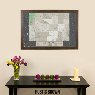 Framed Earth Toned Pin Map of Wyoming Rustic Brown Frame