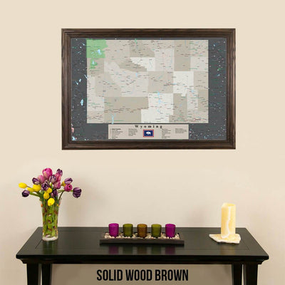 Framed Earth Toned Pin Map of Wyoming Solid Wood Brown Frame