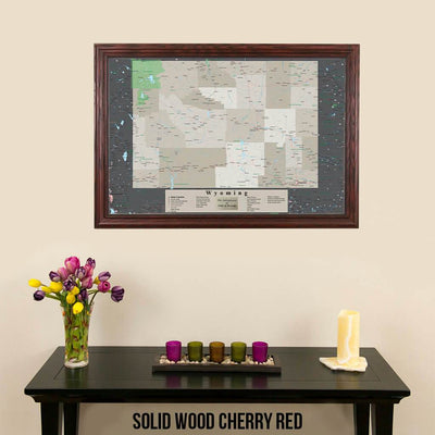 Framed Earth Toned Pin Map of Wyoming Solid Wood Cherry Frame