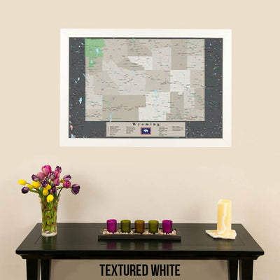 Framed Earth Toned Pin Map of Wyoming Textured White Frame