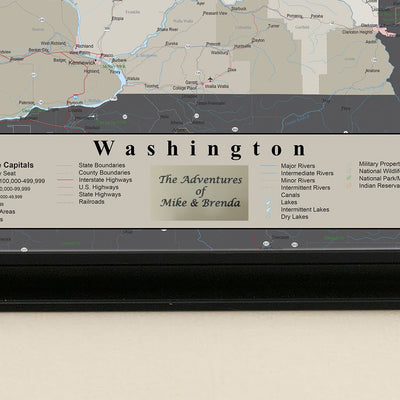 Earth Toned Washington State Push Pin Travel Map plaque location