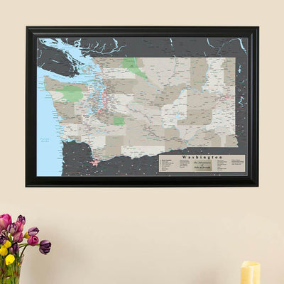 Earth Toned Washington State Push Pin Travel Map Main Picture