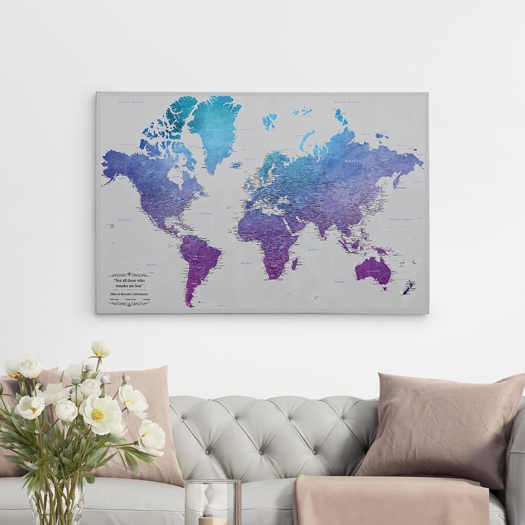 24x36 Gallery Wrapped Canvas Vibrant Violet Watercolor World Push Pin Map