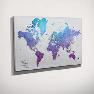 Gallery Wrapped Canvas Vibrant Violet Watercolor World Push Pin Map Side View