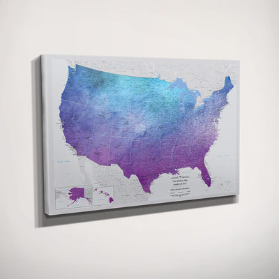 Gallery Wrapped Vibrant Violet Watercolor USA Push Pin Map Side View