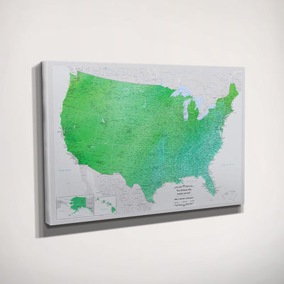 Gallery Wrapped Canvas Enchanting Emerald Watercolor USA Travel Map Side View