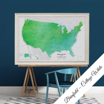 Enchanting Emerald Watercolor USA Canvas Map in Brimfield Cottage White Frame