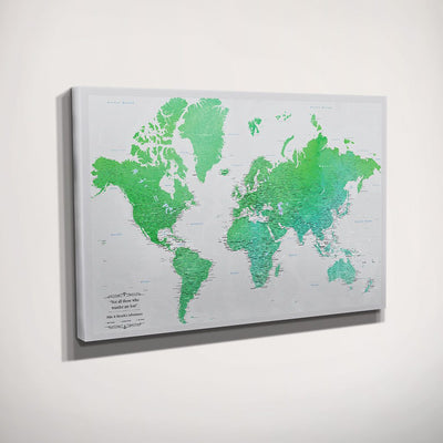 Gallery Wrapped Enchanting Emerald Watercolor World Travel Map Side View