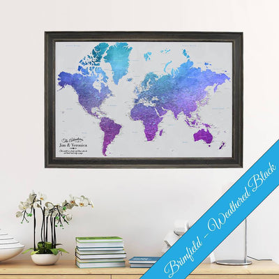 Canvas - Vibrant Violet Watercolor World Travel Map with pins