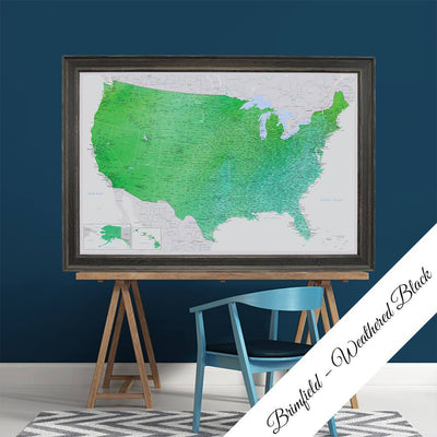 Canvas - Enchanting Emerald Watercolor USA Travel Map with pins