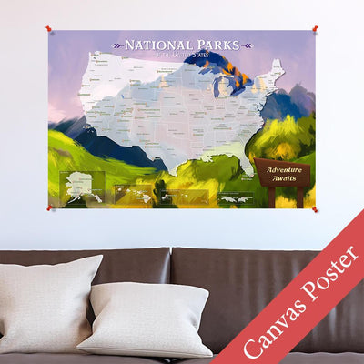 Watercolor National Parks Canvas Poster