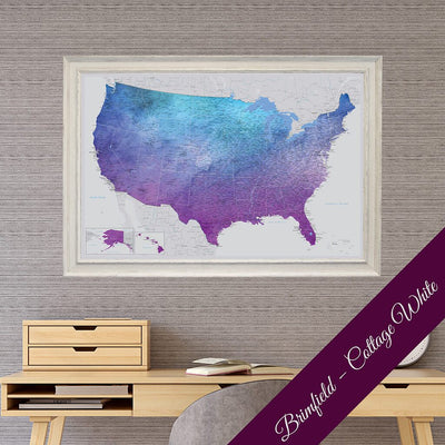 Canvas Vibrant Violet Watercolor USA Map with Premium Brimfield Cottage White Frame