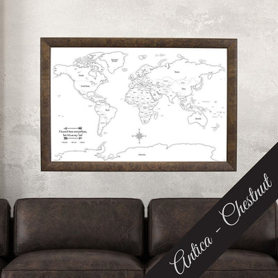 Canvas - Black & White Hand-Drawn World Map - Countries Only