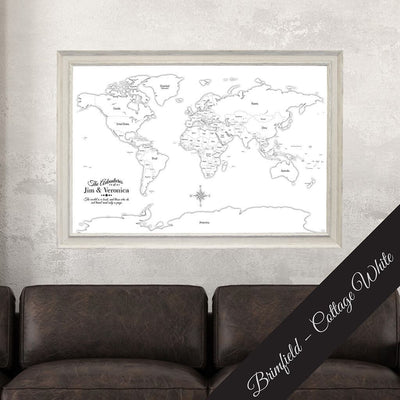 Canvas Black & White Hand-Drawn Illustrative World Map with Pins with Brimfield Cottage White Frame