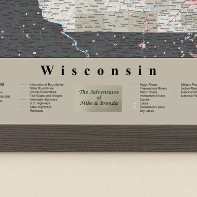 Earth Toned Wisconsin Travel Map with Pins Plaque Location