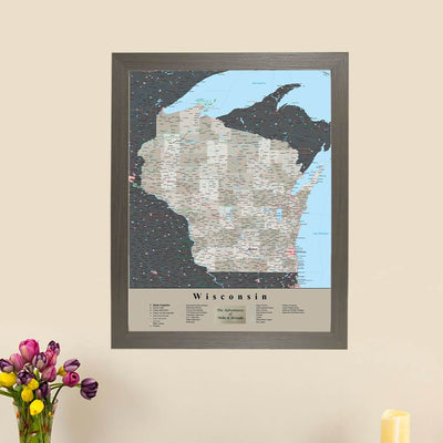 Earth Toned Wisconsin Travel Map with Pins Main Picture