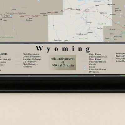 Framed Earth Toned Pin Map of Wyoming Plaque Placement