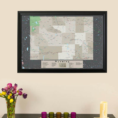 Framed Earth Toned Pin Map of Wyoming main image