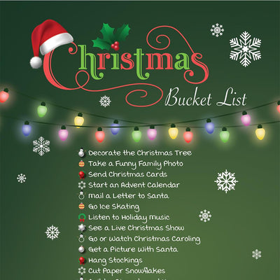 Christmas Bucket List close up