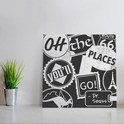 Oh the places you'll go - Gray & White Quote Art