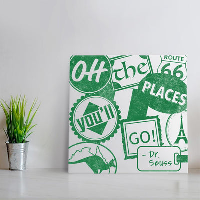 Oh the places you'll go - Green Quote Art