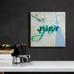 Just Go - Travel Art - with Map background
