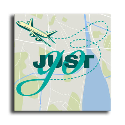 Just Go - Travel Art - with Map background close up