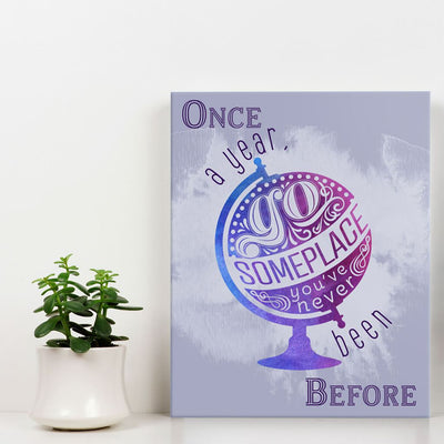 Once a year go someplace - Wall Art - Purple